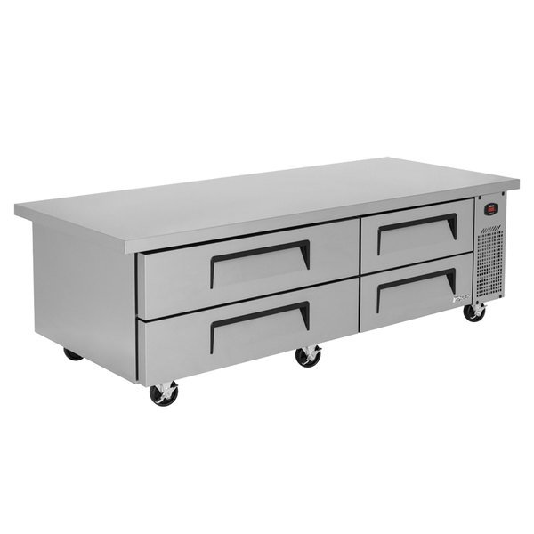"Turbo Air TCBE-72SDR-E-N 72"" Four Drawer Refrigerated Chef Base with Extended Top Main Image 1"