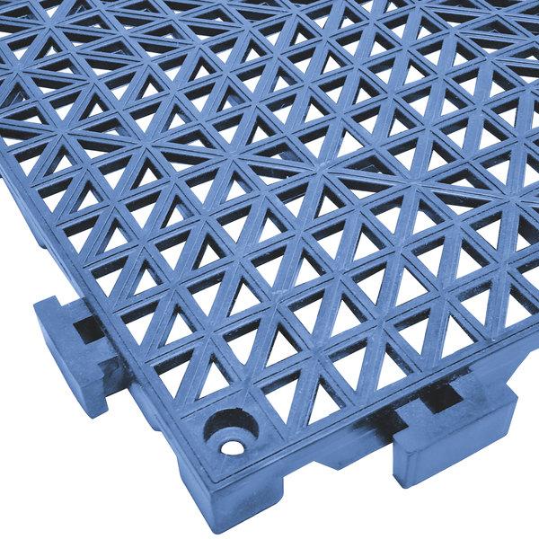 "Cactus Mat 2557-PUT Poly-Lok 12"" x 12"" Pool Blue Vinyl Interlocking Drainage Floor Tile - 3/4"" Thick"