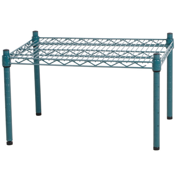 """Regency 24"""" x 18"""" x 14"""" Green Epoxy Coated Wire Dunnage Rack - 600 lb. Capacity"""