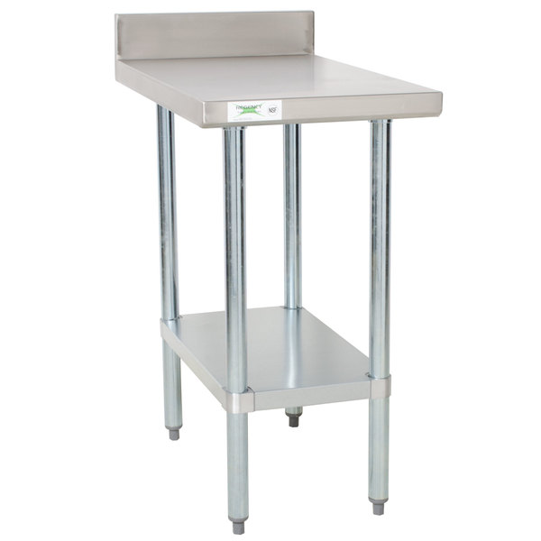 "Regency 30"" x 18"" 18-Gauge 304 Stainless Steel Equipment Filler Table with Backsplash and Galvanized Undershelf"