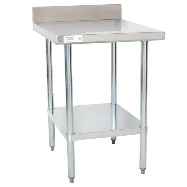 "Regency 30"" x 24"" 18-Gauge 304 Stainless Steel Equipment Filler Table with Backsplash and Galvanized Undershelf"