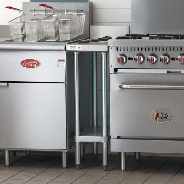 "Regency 30"" x 12"" 18-Gauge 304 Stainless Steel Equipment Filler Table with Backsplash and Galvanized Undershelf Main Image 4"