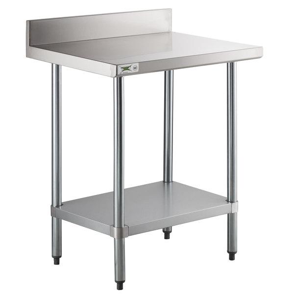 Regency 24 X 30 18 Gauge 304 Stainless Steel Commercial Work Table With 4 Backsplash And Galvanized Undershelf
