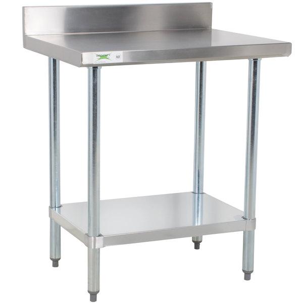 "Regency 24"" x 30"" 18-Gauge 304 Stainless Steel Commercial Work Table with 4"" Backsplash and Galvanized Undershelf"