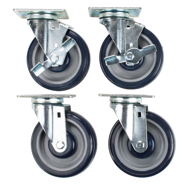 "Hatco HDW-CASTER-5 Equivalent 5"" Swivel Plate Casters with Brake - 4/Set Main Image 1"