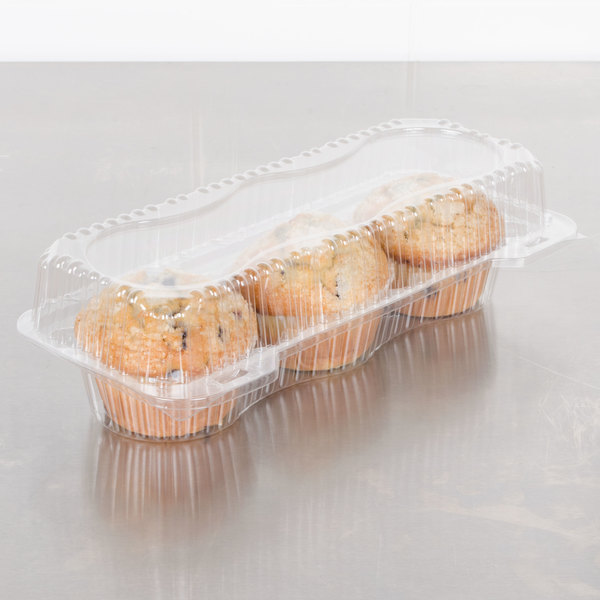 Polar Pak 2341 3 Compartment Clear Jumbo Muffin Takeout Container - 10/Pack Main Image 3