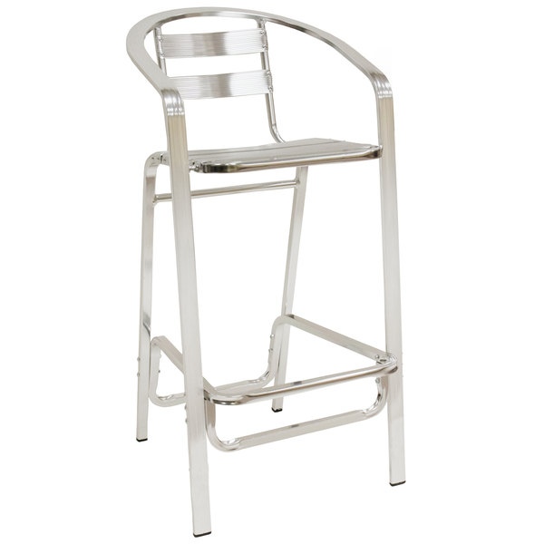 American Tables Seating 55 Bs Aluminum Bar Stool With Slat Back And Seat
