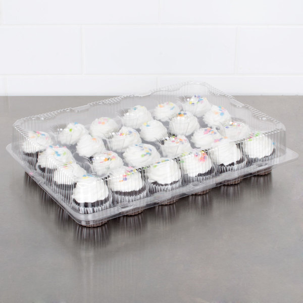 Polar Pak 2443 24 Compartment Clear Cupcake / Muffin Takeout Container - 5/Pack Main Image 4