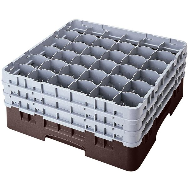 "Cambro 36S1114167 Brown Camrack Customizable 36 Compartment 11 3/4"" Glass Rack"