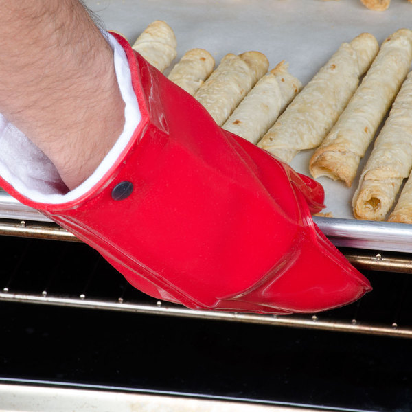 """Mastrad A82310 Orka 11"""" Red Silicone Oven Mitt with Cotton Lining Main Image 5"""