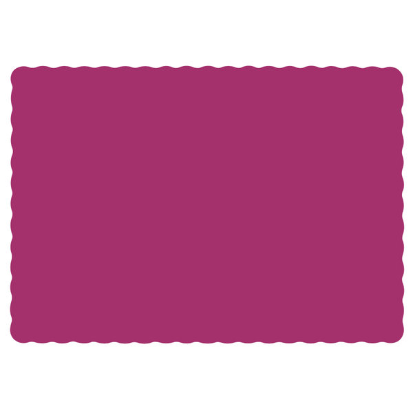 "Hoffmaster 310556 10"" x 14"" Raspberry Pink Colored Paper Placemat with Scalloped Edge - 1000/Case"