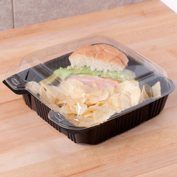 """Polar Pak 29579 9"""" x 9"""" PET Black and Clear Hinged Take-out Container - 20/Pack"""