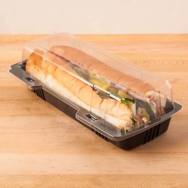 """Polar Pak 29566 9"""" x 4"""" x 3"""" PET Black and Clear Hinged Hoagie / Sub Take-Out Container - 25/Pack"""