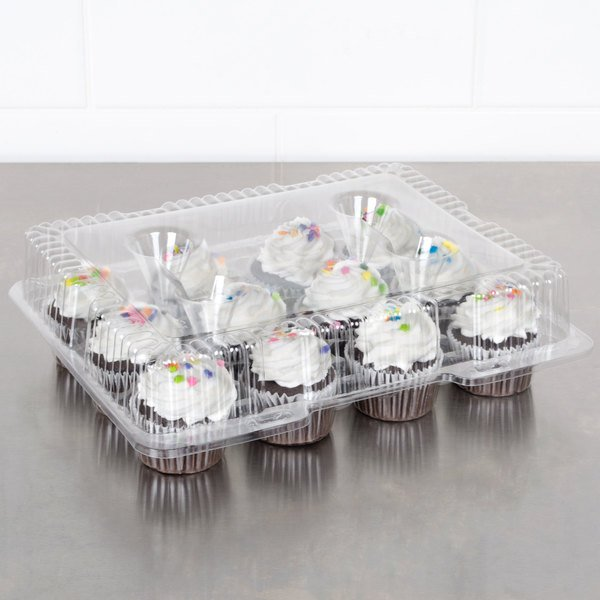 Polar Pak 9513 12 Compartment Clear Hinged PET Cupcake Take Out Container - 5/Pack Main Image 3