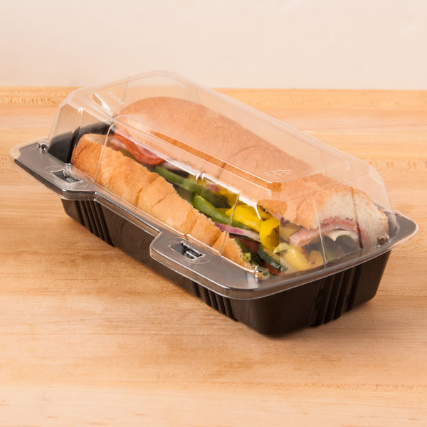 "Polar Pak 29565 8"" x 4"" x 3"" PET Black and Clear Hinged Hoagie / Sub Take-Out Container - 25/Pack"