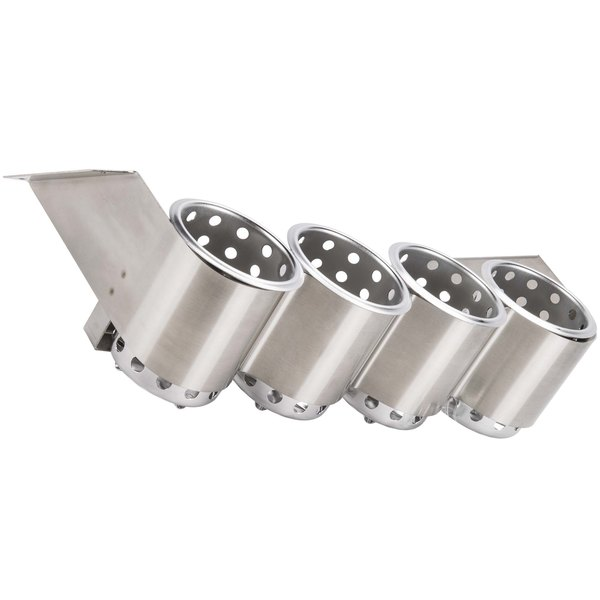 Steril-Sil UB-4SS Under Bar Stainless Steel 4-Cylinder Flatware Hodler with Stainless Steel Cylinders
