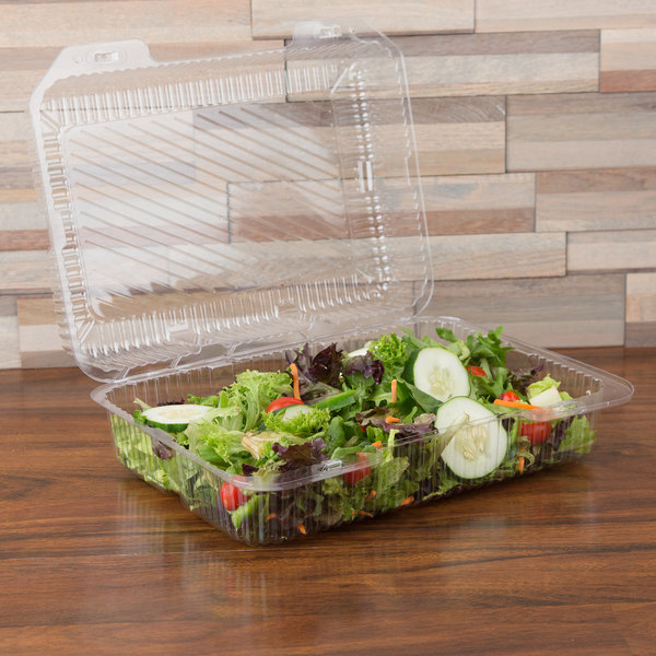 "Polar Pak 2134 12"" x 8"" x 4"" Jumbo Utility Clear Hinged Deep Takeout Container - 15/Pack"