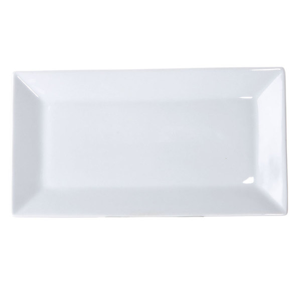 "22"" x 10 7/8"" Bright White Rectangular Porcelain Platter - 2/Case Main Image 1"