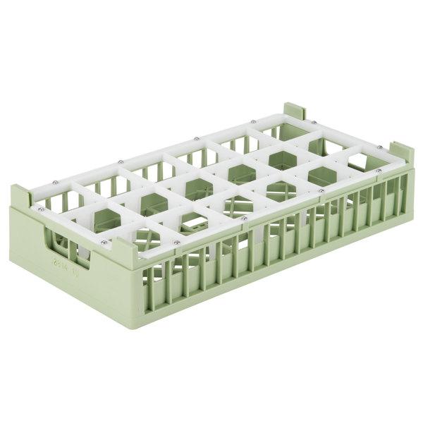 "Vollrath 52823 Signature Half-Size Light Green 18-Compartment 5 11/16"" Medium Rack"