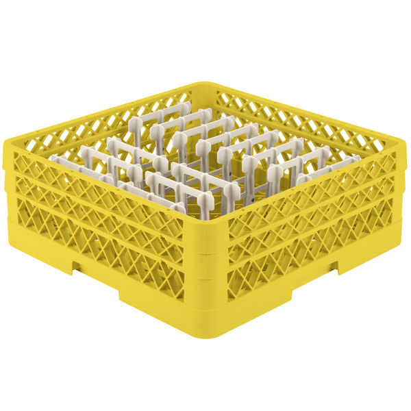 """Vollrath TR3AAP14 Traex® Yellow Extended Peg Rack for 12 1/4"""" Diameter Plates"""