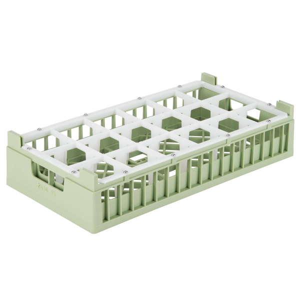 "Vollrath 52814 Signature Half-Size Light Green 18-Compartment 4 1/8"" Short Rack"