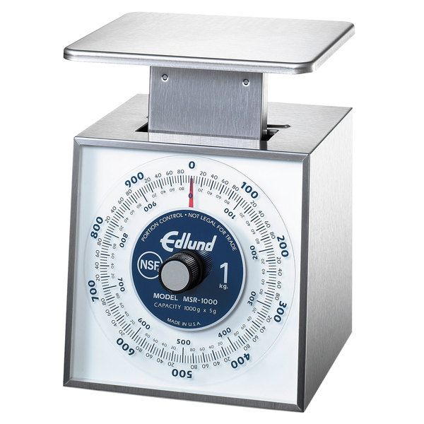 """Edlund MSR-1000 1000 g Stainless Steel Metric Portion Scale with 6"""" x 6 3/4"""" Platform"""