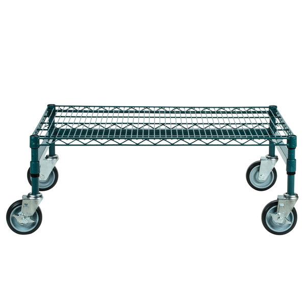 "Regency 24"" x 36"" x 14"" Green Epoxy Coated Mobile Dunnage Rack Kit with Tubular Frame - 600 lb. Capacity"