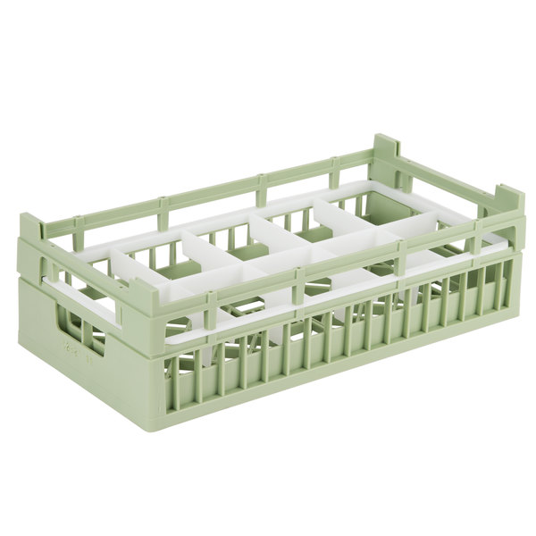 "Vollrath 52820 Signature Half-Size Light Green 10-Compartment 5 11/16"" Medium Rack"