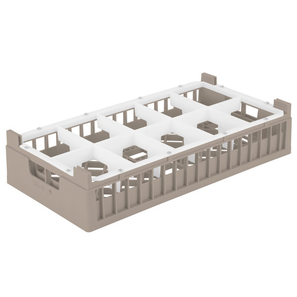 "Vollrath 52810 Signature Half-Size Cocoa 10-Compartment 4 1/8"" Short Rack Main Image 1"