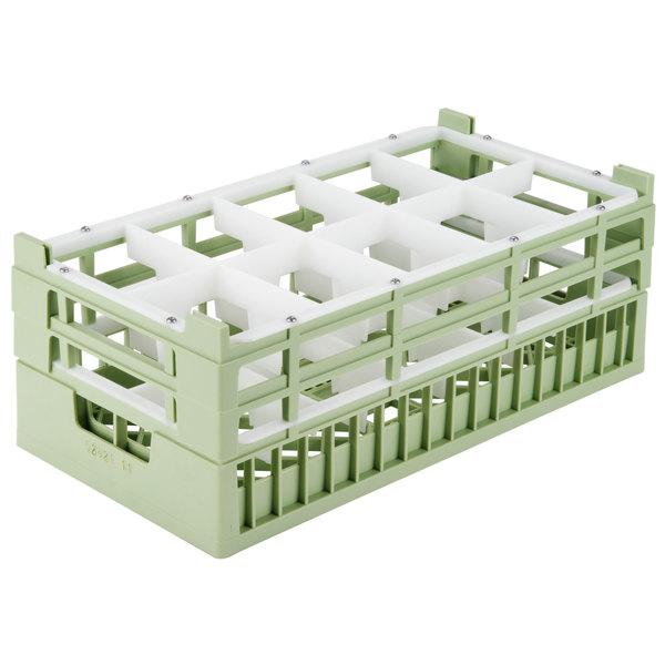 "Vollrath 52822 Signature Half-Size Light Green 10-Compartment 8 7/8"" X-Tall Rack"