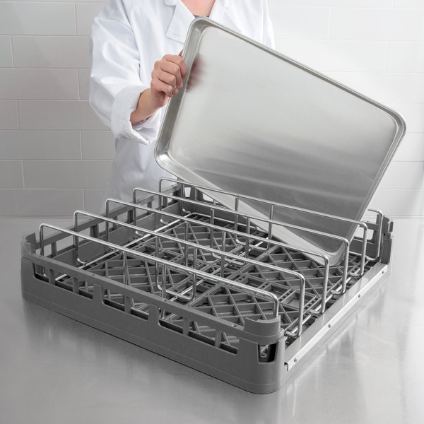 Vollrath 52669 Signature Full-Size Gray Open End Steam Table Pan Rack