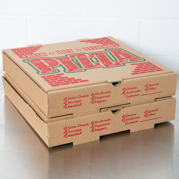 "12"" x 12"" x 1 3/4"" Kraft Corrugated Pizza Box - 50/Case"