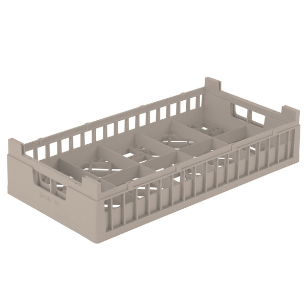 """Vollrath 52806 Signature Half-Size Beige 10 Compartment 4 1/8"""" Tall Cup Rack"""