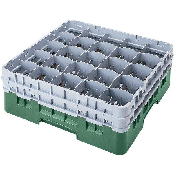 "Cambro 25S1114119 Camrack 11 3/4"" High Customizable Sherwood Green 25 Compartment Glass Rack"