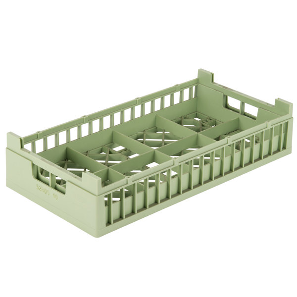 """Vollrath 52805 Signature Half-Size Light Green 8 Compartment 4 1/8"""" Tall Cup Rack"""