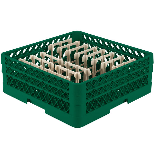 """Vollrath TR3AAP14 Traex® Green Extended Peg Rack for 12 1/4"""" Diameter Plates Main Image 1"""