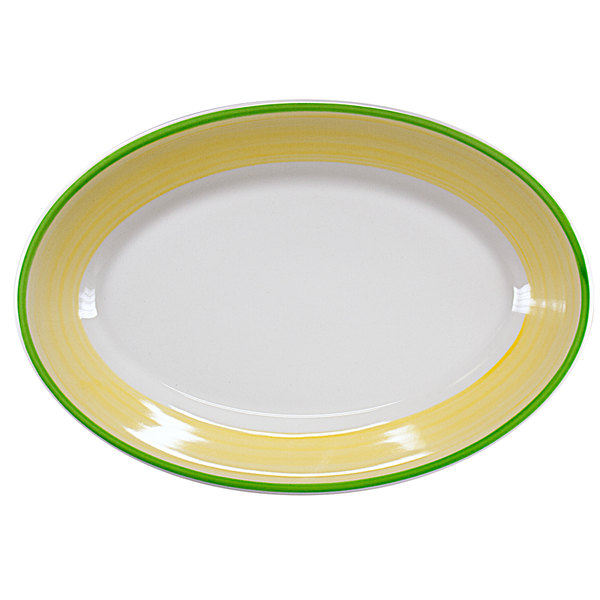 "Homer Laughlin 1545078 Sunflower and Shamrock 10 1/2"" Rolled Edge Oval Platter - 24/Case"