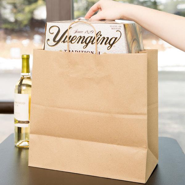 "Duro Jr. Mart Natural Kraft Paper Shopping Bag with Handles 13"" x 7"" x 13"" - 250/Bundle"
