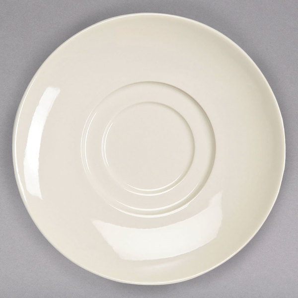 """Homer Laughlin HL12142100 RE-21 6 1/4"""" Ivory (American White) China Saucer - 36/Case Main Image 1"""