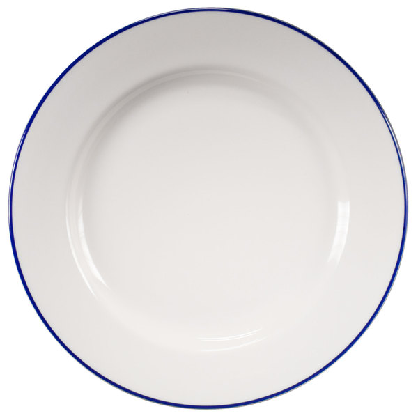 "Homer Laughlin 6376031 Pristine with Kerry Cobalt Blue Rim 9"" Round China Plate - 24/Case"