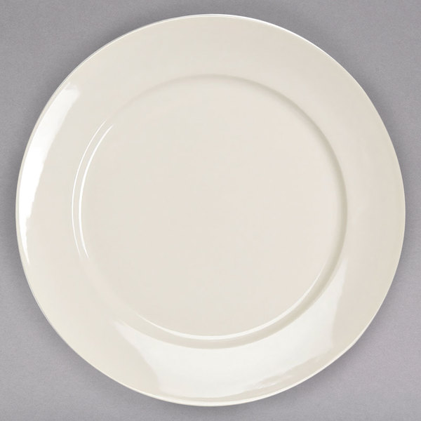 """Homer Laughlin 12082100 RE-21 9"""" Ivory (American White) China Plate - 24/Case"""