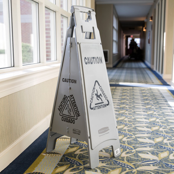 """Rubbermaid 1867510 Executive 37"""" Gray 4-Sided Multi-Lingual Caution Sign"""