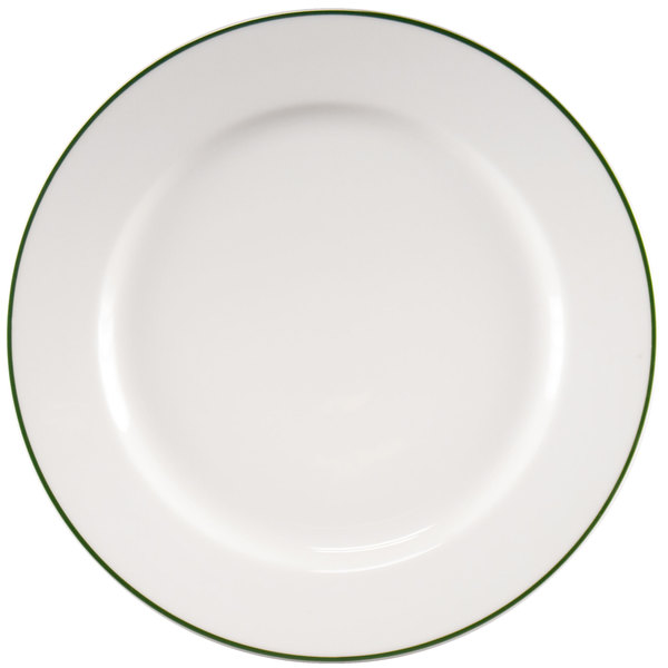 """Homer Laughlin 6396029 Pristine with Kerry Green Rim 10 5/8"""" Round China Plate - 12/Case"""