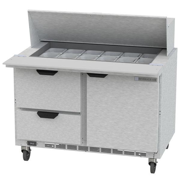 "Beverage Air SPED48HC-18M-2 48"" 1 Door 2 Drawer Mega Top Refrigerated Sandwich Prep Table"