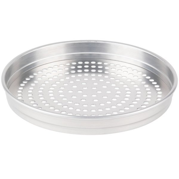 """American Metalcraft SPHA5107 5100 Series 7"""" Super Perforated Heavy Weight Aluminum Straight Sided Self-Stacking Pizza Pan"""