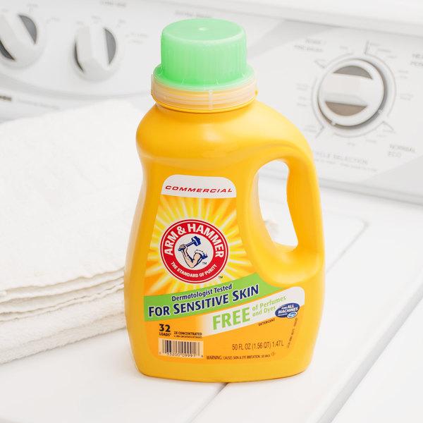 Arm & Hammer 50 oz. 2X HE Perfume & Dye Free Liquid Laundry Detergent - 8/Case