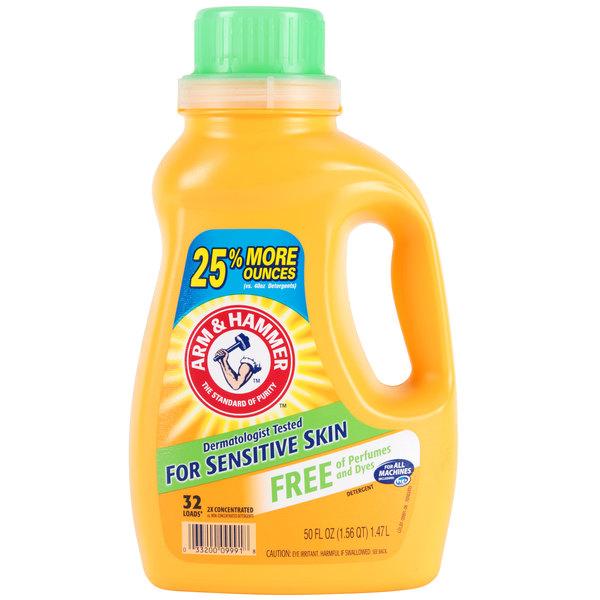 Arm & Hammer 50 oz  2X HE Perfume & Dye Free Liquid Laundry Detergent -  8/Case