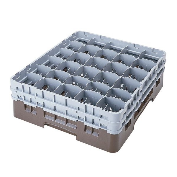 """Cambro 30S318167 Brown Camrack Customizable 30 Compartment 3 5/8"""" Glass Rack"""