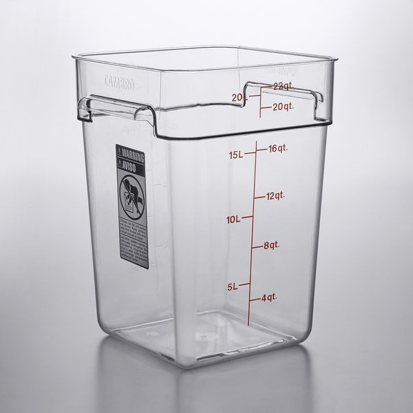 1279c3c199a6 Cambro 22SFSCW135 22 Qt. Clear Square Polycarbonate Food Storage Container  with Winter Rose Gradations
