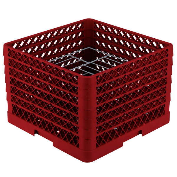 """Vollrath PM1412-6 Traex® Plate Crate Red 14 Compartment Plate Rack - Holds 10 3/4"""" to 12 5/16"""" Plates Main Image 1"""